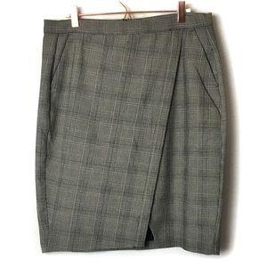 Banana Republic Plaid Faux Wrap Skirt